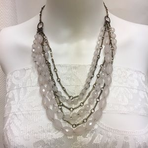 Vintage Light Pink Lucite Brass Tone Chain.
